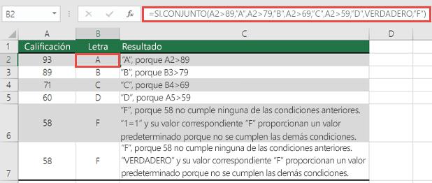 """Ejemplo de calificaciones de la función SI.CONJUNTO.  Fórmula en la celda B2 es =SI.CONJUNTO(A2>89,""""A"""",A2>79,""""B"""",A2>69,""""C"""",A2>59,""""D"""",VERDADERO,""""F"""")"""