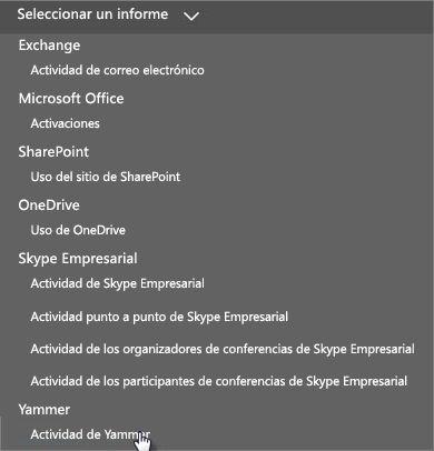 Captura de pantalla del menú Seleccionar un informe en el panel Informes de Office 365