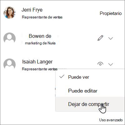 Captura de pantalla de cómo dejar de compartir con una persona en OneDrive para la empresa