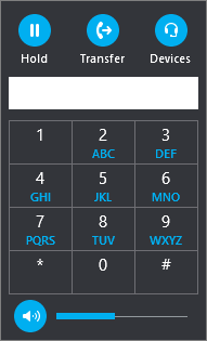 El teclado de marcado de transferencias de Skype Empresarial