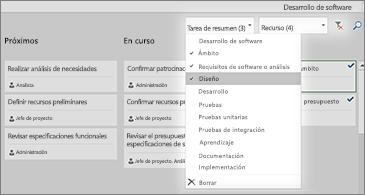 Panel de tareas con la lista desplegable del filtro