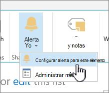 SharePoint 2016 Configurar alerta para un elemento con el elemento seleccionado