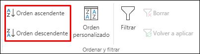 Botones de Orden ascendente o descendente de Excel en la pestaña Datos