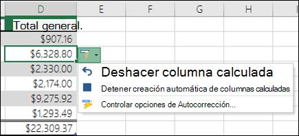 Opción para deshacer una columna calculada después de escribir una fórmula