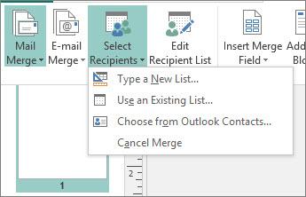 Opciones de Seleccionar destinatarios de Envíos
