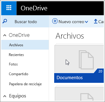 Captura de pantalla de la carpeta Documentos en OneDrive.