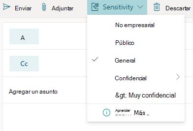 Botón de confidencialidad con opciones de confidencialidad en Outlook para la web