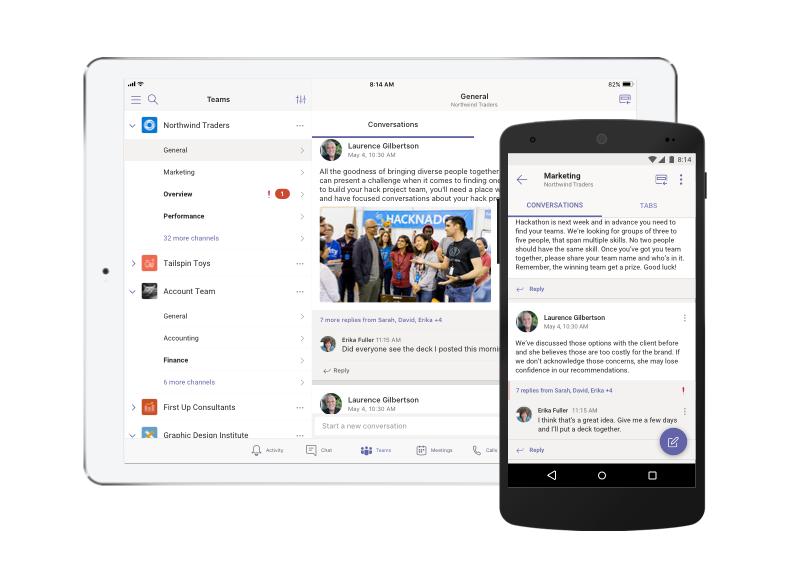 Microsoft Teams en una tableta y un teléfono