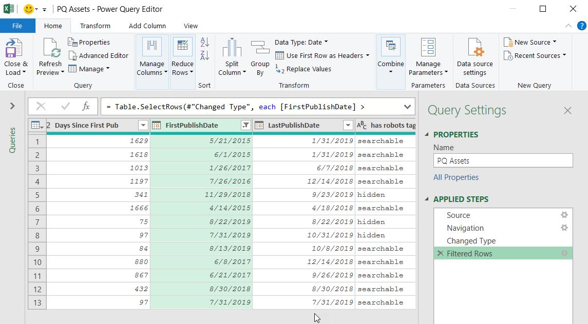 Editor de Power Query que muestra los resultados filtrados