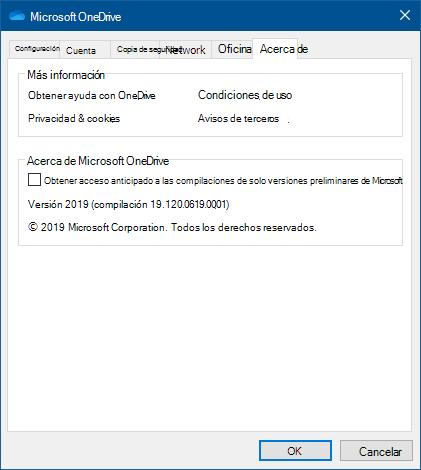 Interfaz del usuario de Acerca de OneDrive
