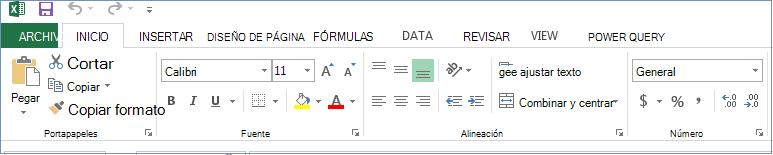 Se muestran todas las pestañas y comandos en la cinta de opciones.
