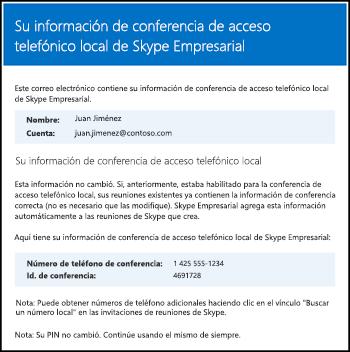 Correo electrónico de conferencia de acceso telefónico