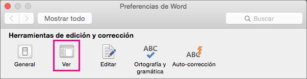 En las preferencias de Word, haga clic en Ver para cambiar las preferencias de visualización.