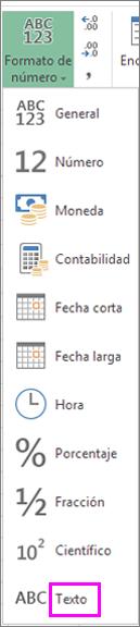 Formato de texto para números