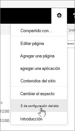 Opción Configuración del sitio en el botón configuración