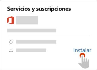 Muestra el vínculo de instalación en la página Servicios y suscripciones