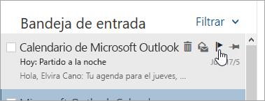 Captura de pantalla de la opción marcar en la lista de mensajes