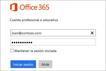 Captura de pantalla del recuadro de inicio de sesión de Office 365