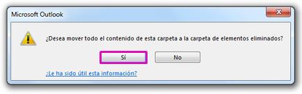 Haga clic en Sí para confirmar que desea eliminar de forma permanente todo el contenido de la carpeta.