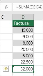 Excel muestra un error cuando una fórmula omite celdas en un rango