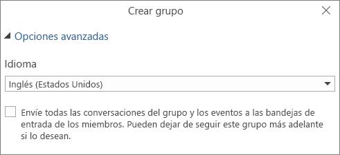 Elegir Enviar correo electrónico del grupo a la bandeja de entrada de los usuarios