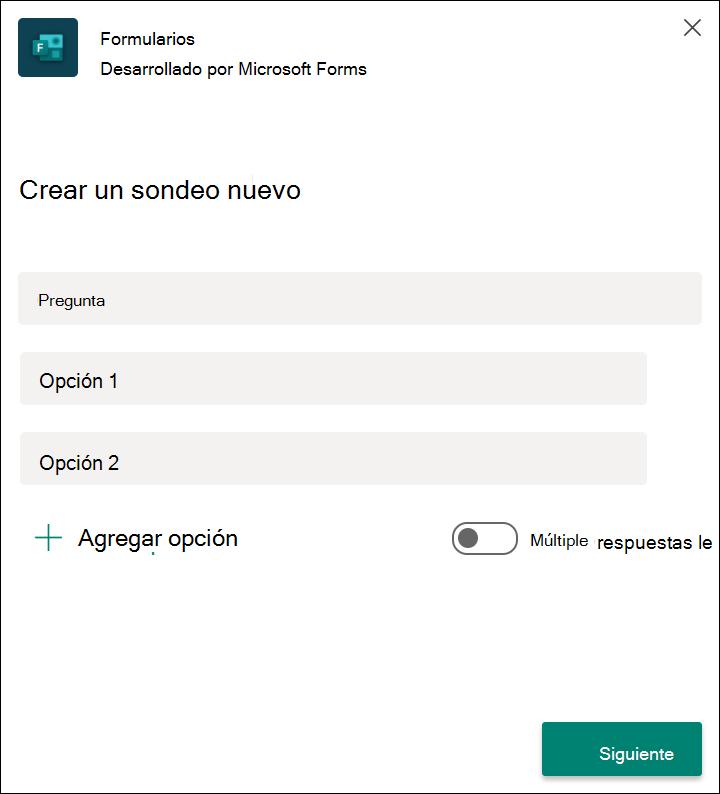 Los resultados del sondeo rápido de formularios en Microsoft Teams