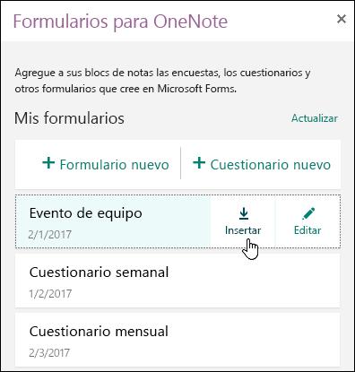 Lista de formularios en los formularios de panel de OneNote Online