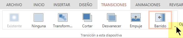 Para abrir toda la galería de las opciones de transición, haga clic en la flecha que apunta hacia abajo en el extremo derecho.