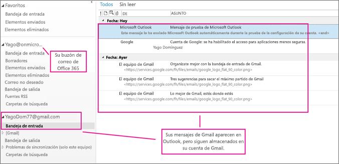 Después de agregar su cuenta de Gmail, verá dos cuentas en Outlook