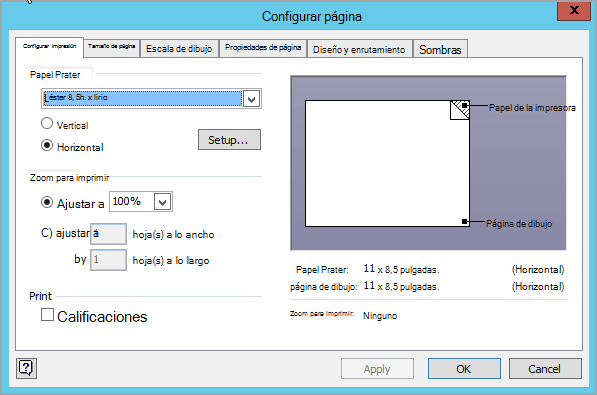 Ficha de configuración de impresión