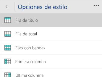 Captura de pantalla del menú Opciones de estilo con la opción Fila de encabezado seleccionada.