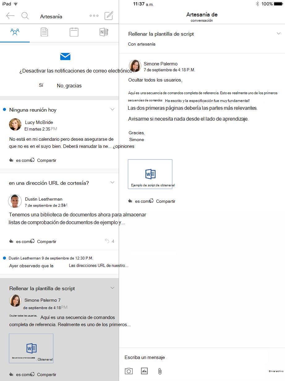 Vista de conversación en grupos de Outlook para iPad