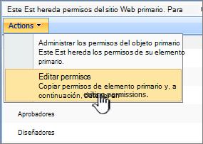 Editar la opción de permisos del menú de acciones