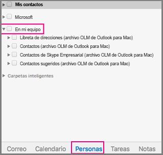 """Pestaña Contactos con la opción """"En mi PC"""" seleccionada"""