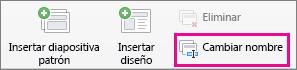 Comando Cambiar nombre de patrón de diapositivas de PPT para Mac