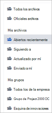 Lista que muestra las ubicaciones de archivo