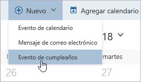 Una captura de pantalla del menú nuevo con el cursor sobre la opción de evento de cumpleaños