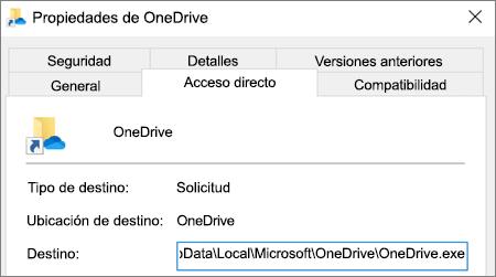 Una captura de pantalla que muestra la aplicación de OneDrive en el menú de propiedades