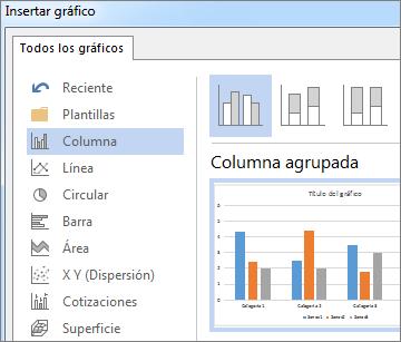 Cuadro de diálogo de Insertar gráfico mostrando las opciones de gráficos y la vista previa