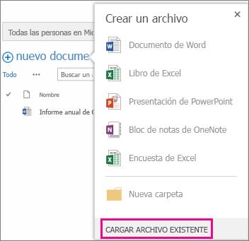 Captura de pantalla del diálogo Nuevo documento con el botón Cargar archivo existente resaltado