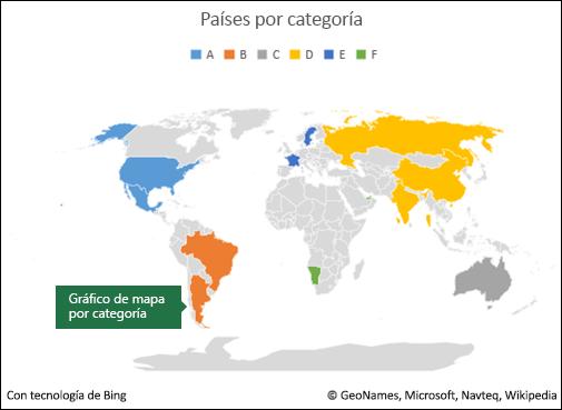 Gráfico de mapa de Excel por categoría