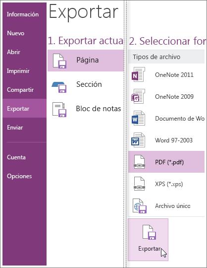 Puede exportar notas en otros formatos, como un documento PDF, XPS o de Word.