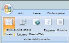 Captura de pantalla muestra el grupo vistas de documento con la opción de diseño de impresión seleccionada. Otras opciones disponibles son lectura a pantalla completa, diseño Web, esquema y borrador.