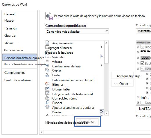 El botón Personalizar en el panel de accesos directos del teclado y la cinta de opciones de personalizar