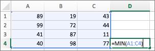 Ejemplo que muestra el uso de la función MIN