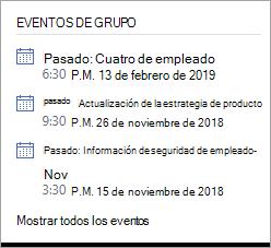 Sección eventos de grupo de Yammer que muestra un evento en directo