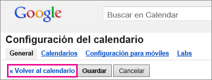 google calendar - haga clic para volver al calendario