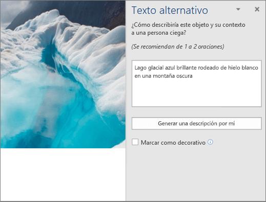 Nuevo cuadro de diálogo de texto alternativo en el que se muestra el texto alternativo generado automáticamente en Word
