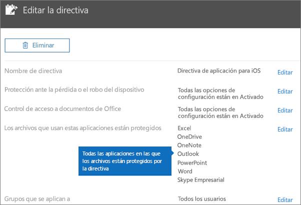 Muestra todas las aplicaciones para las que esta directiva protege los archivos.