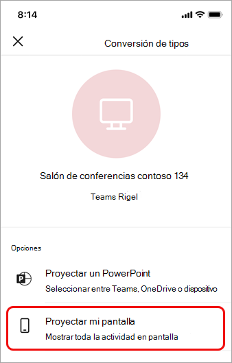 Pulse Proyectar mi pantalla